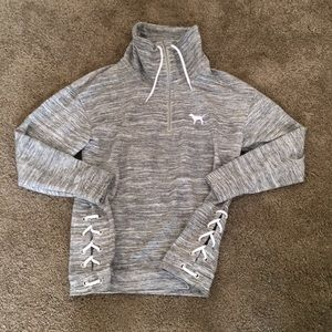 Heathered gray quarter zip pullover